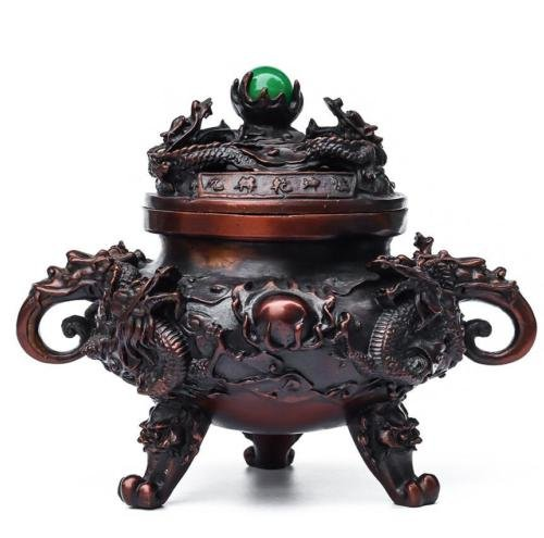 Chinese Royal Palace Pure Bronze Nine Dragon Head Statue Incense Burner Censer
