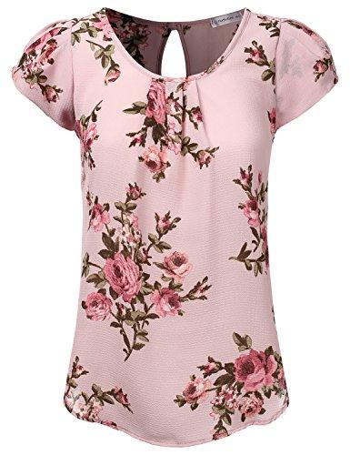 - JJ Perfection Women's Petal Short Sleeve Woven Blouse Lavender M