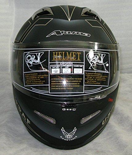 3xl Akuma Stealth Motorcycle Helmet Matte Black With Built