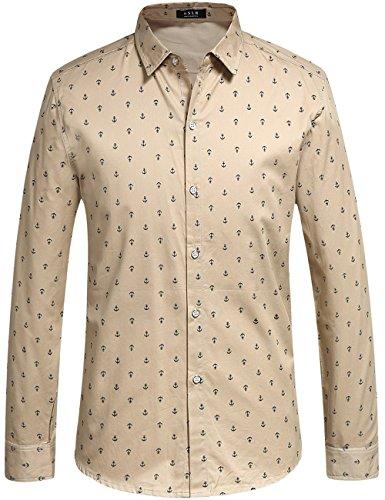 SSLR Camisa Casual Hombre Manga Larga Estampada de Anclas Caqui