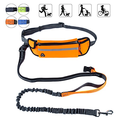 PetforCity Hands Free Dog Running Leash with Waist Pocket Adjustable Belt Shock Absorbing Bungee Fits up to 45
