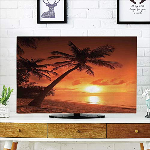 iPrint LCD TV dust Cover,Tropical,Twilight Dusk at Sandy Beach with Coconut Palms Maldives Summer Panorama,Coral Orange Brown,3D Print Design Compatible 32