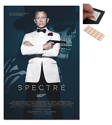 Bundle - 2 Items - James Bond Spectre Skull And White Tuxedo 007 Poster - 91.5 x 61cms (36 x 24 Inches) and a Set of 4 Repositionable Adhesive Pads For Easy Wall Fixing