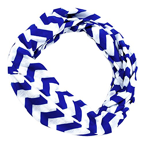 Womens Chevron Print Pattern Infinity Scarf Wrap with Zipper Pocket, Blue and White, Best Travel Infinity Scarves for Women, Girls, - Pattern Scarf Pocket