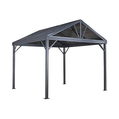 Sojag 10' x 10' Sanibel I Hardtop Gazebo Outdoor Sun Shelter, Light Grey : Garden & Outdoor