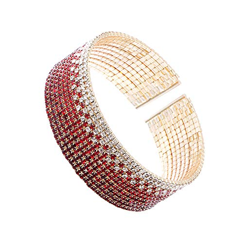 (huiphong Rhinestone Bracelet with Clear Cuff Design for Female Crystal Bracelet for Women (Red-M/L-10 Lines))