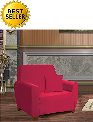 ction Luxury Soft Furniture Jersey Stretch SLIPCOVER, Chair Ruby ()
