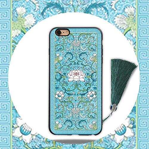 ZBYZPL Designed for iPhone Case Shockproof Dustproof Chinese Ancient Palace Style Fringed Retro Lotus Totem Fashion Phone case-iPhone7plus/8plus 5.5inch ()