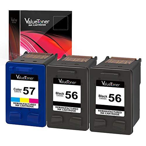 56 Remanufactured Black Inkjet Cartridge - Valuetoner Remanufactured Ink Cartridge Replacement for HP 56 & 57 C9321BN C6656AN C6657AN for Deskjet 5650 5850 5150, Photosmart 7150 7260 7350 7960, PSC 2510 Printer (2 Black, 1 Tri-Color, 3 Pack)
