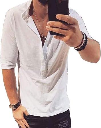 PUJIANGxian Hombre Botones De La Camisa Marea Cuello De La Manga De La Camiseta Cómodo (Color : White, Size : XL): Amazon.es: Hogar