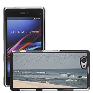 Super Stella Slim PC Hard Case Cover Skin Armor Shell Protection // M00149374 Beach Sand Water Ocean Dog Seagulls // Sony Xepria Z1 Compact D5503