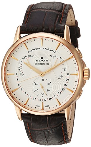 Edox Men's 'Les Bemonts' Swiss Quartz Stainless Steel and Leather Dress Watch, Color:Brown (Model: 01602 37R AIR)