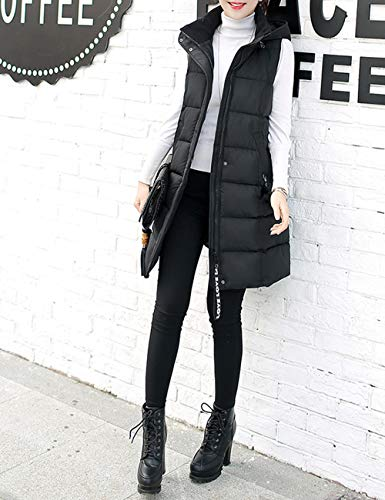 Besbomig Casual Solid Ladies Capispalla Winter Warm Windproof Fit Zipper Giacca Overcoat Slim Vest Nera Cotton Hooded fnfW6awrHq