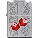 Zippo Dazzling Dice in Red Engraved Scrolling Lighter