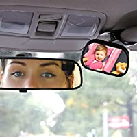 UXOXAS Tirol T22614 Mini Car Baby View Mirror 2 IN 1/Car Rear Baby Safety Convex Mirror for Car Adjustable Baby Safety Mirror