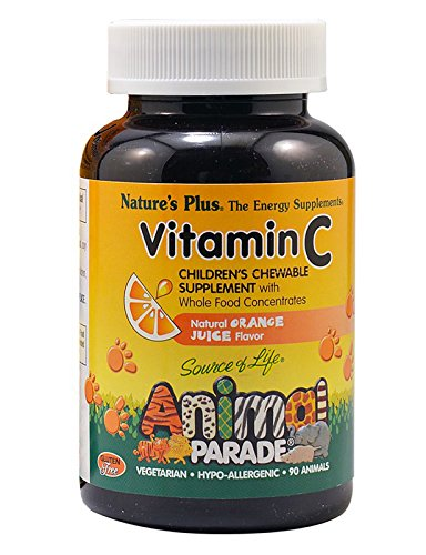 Natures Plus Animal Parade Source of Life Vitamin C Childrens Chewable - Natural Orange Juice Flavor - 90 Animal Shaped Tablets - Immune System Booster - Vegan, Vegetarian, Gluten Free - 45 Servings