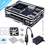 Smraza Acrylic Case for Raspberry Pi 4 B, Case with 35 x 35 mm Cooling Fan, 4PCS Heatsinks, 5V 3A USB-C Power Supply for Raspberry Pi 4 Model B (Upgrade, Large Fan and Large Heat Sinks)