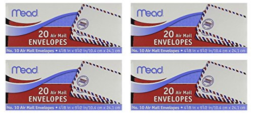 """Mead Products 74260 4-1/8"""" X 9-1/2"""" #10 Air Mail Envelopes, Pack of 4 = to 80 Count"""