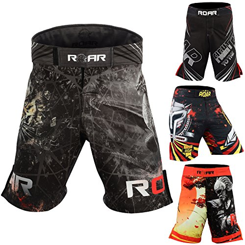 (Roar MMA Shorts UFC Cage Fight Grappling Muay Thai Jiu Jitsu Stretch Cross-Training Kickboxing Gear (BLK/Dragon, XLarge))