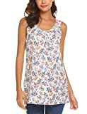 Sweetnight Women's Casual Loose Sleeveless Flowy Flare Floral Tunic Tank Tops