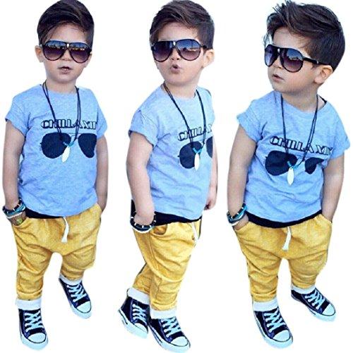 AMA(TM) Baby Boys Short Sleeve Sunglasses Print T-shirt +Long Pants Outfit Set (5T, - Sunglasses Amos