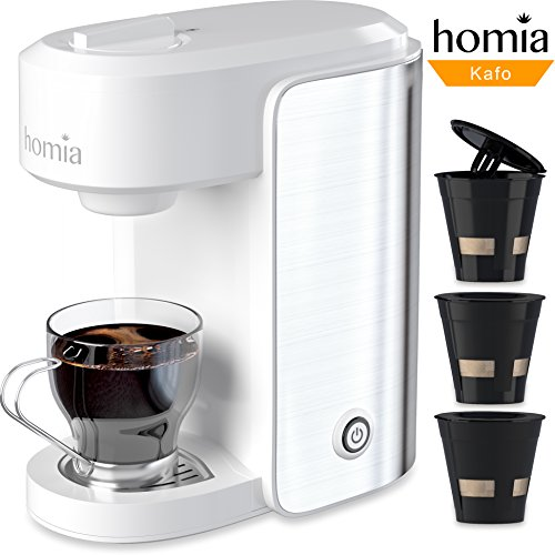 Coffee Maker Machine Electric Single Serve Brewer for Ground Coffee and K-cup Сompatible, 10 oz (300 ml), 1000W, 3.5 bar Pump with Reusable Capsules and Automatic Shut-Off, Stainless Steel + White