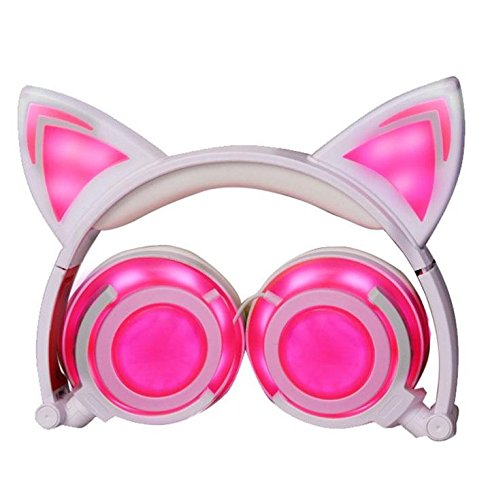 Eoncore Foldable LED Lights Cat Ear Headphones for Kids Teens USB Rechargeable 3.5mm Stereo On-Ear Music Gaming Earphones Headband Headsets (Pink)