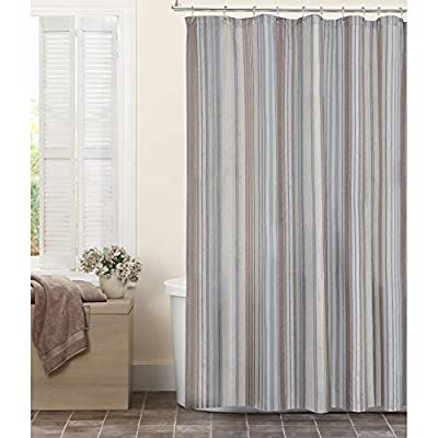 MAYTEX Jodie Chenille Striped Fabric Shower Curtain, 72X72 - DESIGN: Featuring a textured chenille stripe pattern with cool tones of blue and taupe BUTTONHOLE CONSTRUCTION: The durable buttonhole top construction allows for easy hanging with different style shower curtain hooks and rings MEASURES: The fabric shower curtain measures 72 inches x 72 inches and fits standard size shower / bathtub areas - shower-curtains, bathroom-linens, bathroom - 5158JjVYfxL. SS400  -