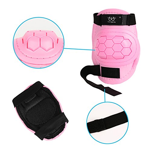 KUKOME-SHOP Kids Children Roller Skating Skateboard BMX Scooter Cycling Protective Gear Pads (Knee pads+Elbow pads+wrist pads) (Pink, S) by KUKOME-SHOP (Image #2)