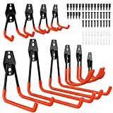 10 Pcs Heavy Duty Garage Storage Utility Hooks,NOUVCOO Wall Mount Tool Holder Double U Hook with Anti-Slip Coating