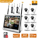 Wireless Surveillance Camera System - Forcovr 8 Channel 1080P Home Security System CCTV Wifi NVR Kit with 12.5inch LCD Monitor and 6PCS 960P HD Outdoor Waterproof IR Night Vision IP Cameras (2TB HDD)