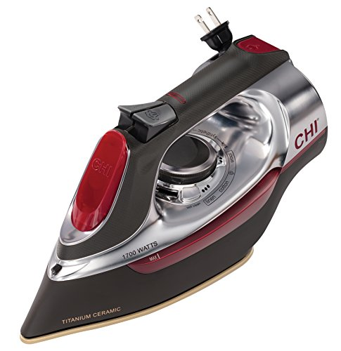 CHI (13106) Steam Iron With Retractable Cord, Titanium Infused Ceramic Soleplate & Over 400 Steam Holes, Professional Grade by CHI Steam