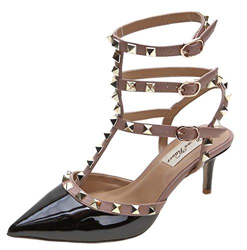 (Royou Yiuoer Fourteen Colors Women's Patent Leather Buckle Studded Sandals T-Strap Kitten Pumps Dress Sandals Black 9.5 B(M) US)