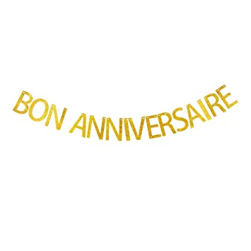 Bon Anniversaire Banner French Happy Birthday Party Sign Decorations
