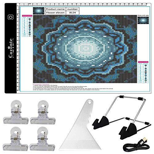 Cozonte A4 LED Light Box, diamond painting Light Pad Apply to diy 5D Diamond painting, see symbols and numbers clearer, light pad with detachable stand and clips