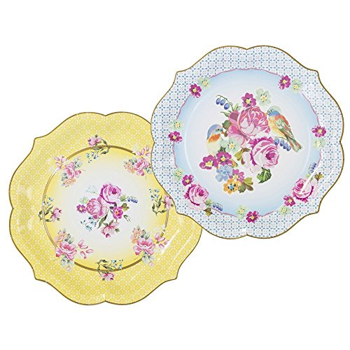 Talking Tables Truly Scrumptious Large Paper Serving Plates for a Tea Party or Birthday, Yellow (8 Pack) (Floral Plate Serving)
