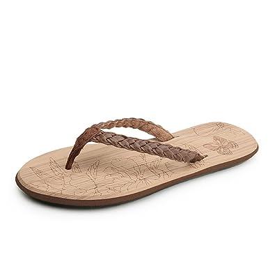 Damen Flip Flops Sandalen Zehentrenner Leichte Peep-Toe Entspannt Rund Toe Sommer Pantoletten Braun 38 EU qFgKf