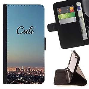 - California skyline city LA los Angeles - - Prima caja de la PU billetera de cuero con ranuras para tarjetas, efectivo desmontable correa para l Funny HouseFOR Sony Xperia Z1 L39