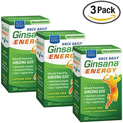 BodyGold Ginsana Energy, Once Daily Panax Ginseng Extract w Herbal Blend for Focus Endurance Caffeine Free 30 VegCaps Box Pack of 3
