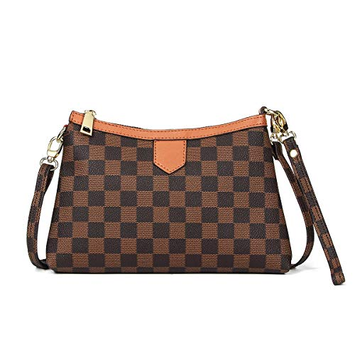 Small Checkered Crossbody Bag Leather Wristlet Canvas Clutch With Strap