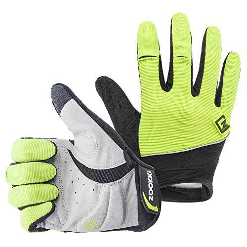 (Zookki Work Gloves,Full finger-Green,M(6.7inches-7.9inches))