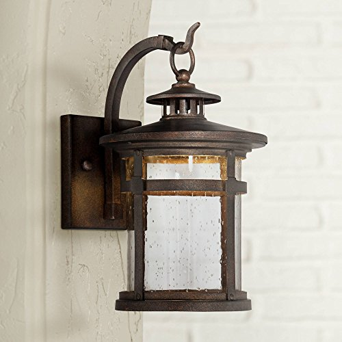 Callaway Rustic Outdoor Wall Light LED Bronze Hanging Lantern Sconce Fixture for House Deck Porch Patio - Franklin Iron Works ()