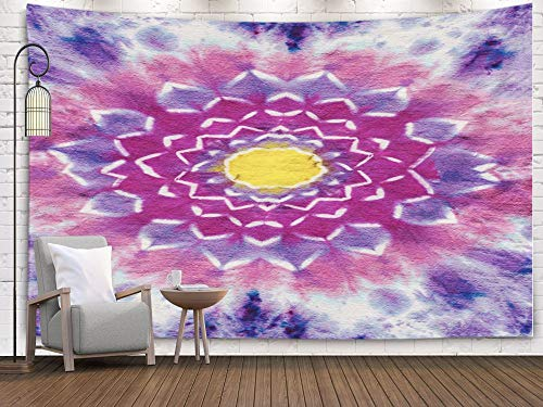 Shirt Wall Dye Tie - Bisead Wall Art for Bedroom Tapestry, Map Art Tapestry 80x60 inchs Original Handmade Colorful Lotus Flower Psychedelic Tie Dye Shirt Design Wall Hanging Gifts for Bedroom Dorm Décor