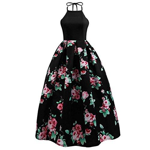 Women's Halter Floral Printed Dress, Balakie Sexy Ladies Sleeveless Party Evening Beach Maxi Long Dresses (XL, Black)