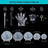 Resin Casting Molds, 145 Pcs Mold Tools Kit for Resin Crafts Including 5 Silicone Sphere Paperweight Pendant Jewelry Casting Making Molds Set Kit,100 Screw Eye Pins,10 Disposable Plastic Cups,10 Stirrers,10 Droppers,10 Disposable gloves for Polymer Clay, Crafting and Resin Epoxy