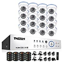 TMEZON 16CH 1080P AHD System 2MP Security Camera System - 16 x HD 1080P 2.8~12mm Varifocal Zoom Dome Camera Free APP Quick QR Code Remote Access NO HDD