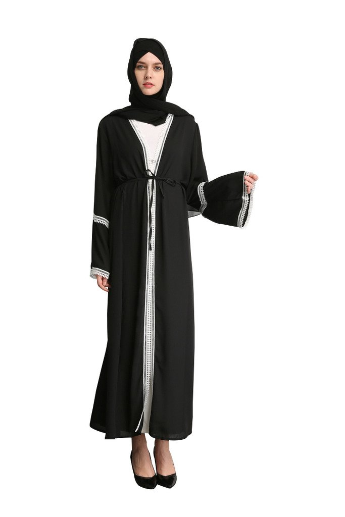 YI HENG MEI Women's Elegant Long Sleeve Coat with Lace for Muslim Islamic Open Front Abaya Clothing,Black,M