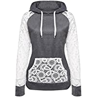 KESEE Clearance Coat ☀ Women Sheer Lace Long Sleeve Hooded Patchwork Sweatshirt With Pockets