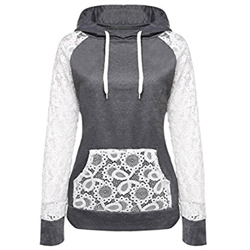 KESEE Clearance Coat ☀ Women Sheer Lace Long Sleeve Hooded Patchwork Sweatshirt With Pockets (XXL, Dark Gray)