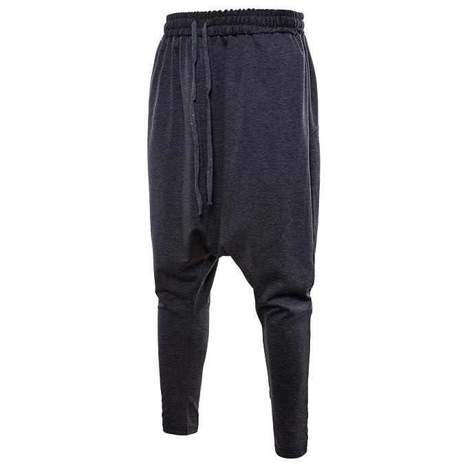 YanHoo Pantalones Deportivos Sueltos de la Cintura elástica del cordón del Color Puro del algodón Hombres de la Moda Pantalones de Jogging Camuflaje ...